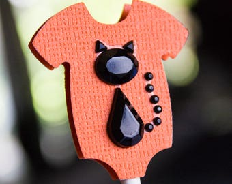 Baby Shower Cupcake Toppers 12 Pcs - 3D Toppers - Halloween Kitty Cupcake Topper - Orange Onesie with Black Kitty Cupcake Topper