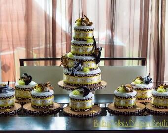 Large Safari Diaper Cake and Centerpiece Set - Jungle Diaper Cake - Safari Baby Shower - Jungle Baby Shower - Diaper Cake Centerpiece Set