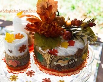 Fall Baby Shower | Pumpkin Diaper Cake | Fall Centerpiece | Pumpkin Baby Shower | Diaper Cake | Pumpkin Theme Baby Shower | Orange Pumpkin