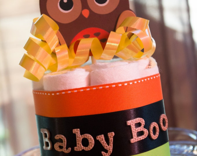 Featured listing image: Halloween Baby Shower | Centerpiece | Baby Shower Diaper Cake | Owl | Diaper Cake