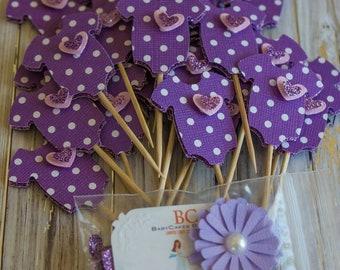 Purple Baby Shower Cupcake Toppers - Onesie Cupcake Toppers - Polka Dot Cupcake Topper - Purple Pink Baby Shower