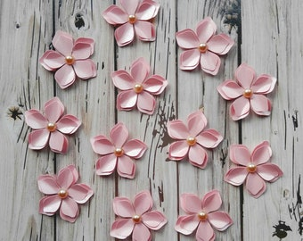 Paper Flowers - 3D Pink Paper Flowers - Shiny Paper Flowers - Paper Crafting Flowers - Flowers - Paper Embellishments - Dimensional Flowers