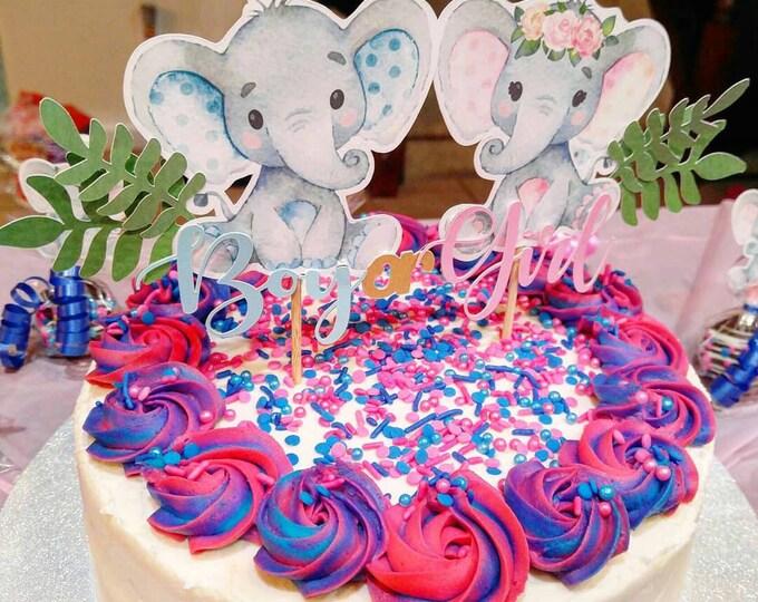 Gender Reveal Cake Topper, Elephant Cake Topper, Gender Reveal Cake, Boy or Girl, Elephant Gender Reveal, Cake Topper, Elephant Topper