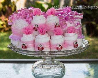 Pink Owl Baby Shower Diaper Cake - Centerpiece set with Mini Diaper Cupcakes - Owl Baby Shower Cake - Pink Owl Baby Shower - Diaper Cake