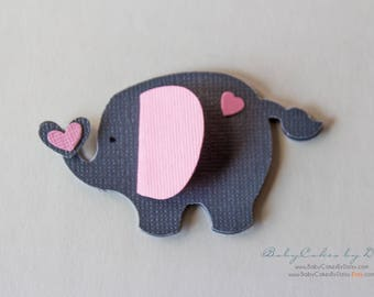 Pink Gray 3D Elephant Table Decor - Elephant Baby Shower - Paper Table Scraps - Elephant Confetti - Paper Elephant - Elephant Shower