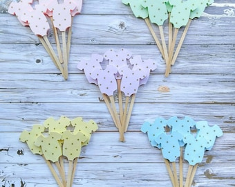 Gender Neutral Baby Shower Cupcake Toppers - Pastel Cupcake Toppers - Gold Polka Dot Cupcake Toppers - Gender Reveal Baby Shower