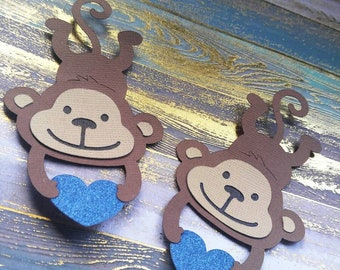 Spider Monkey Decor - Paper Monkeys - Pair of Handmade Paper Monkeys - Monkey Confetti - Scrapbooking - Cardmaking