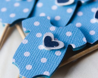 Onesie Cupcake Toppers - Baby Boy Cupcake Toppers - Baby Boy - Polka Dot Bue - Cupcake Topper - Onesies - Heart - Baby Shower Decor