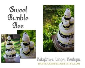Bumble Bee Diaper Cake - Bee Diaper Cake - Black and Yellow Bee Diaper Cake - Bumble Bee Baby Shower - Baby Shower Cake - Bee Cake