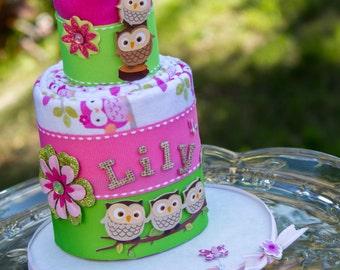 Owl Baby Cake - Receiving Blanket Cake - Owl Diaper Cake - Owl Baby Shower Cake - Owl Baby Shower Gift