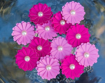 Paper Flowers - 3D Pink Paper Flowers - Daisy Paper Flowers - Paper Crafting Flowers - Daisy Flowers - Hot Pink Light Pink Flowers