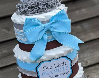Elephant Diaper Cake for Boys, Twin Elephant Diaper Cake, Two little peanuts, Baby Shower Centerpiece for Twin Boys, Elephant Baby Shower