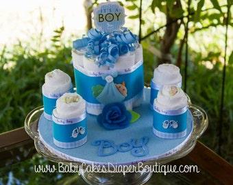 Baby Shower Centerpiece - Baby Boy Diaper Cake - It's a Boy - Baby Shower Gift - Baby Boy Diaper Cake Gift