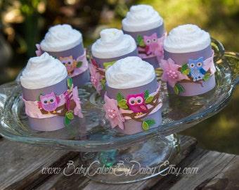 6 Owl Mini Diaper Cupcakes | Owl Mini Diaper Cakes | Owl Baby Shower | Diaper Cupcakes | It's a Girl | Baby Girl | Owl | Baby Shower Decor