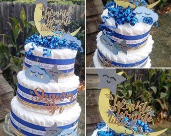 Diaper Cake - Twinkle Twinkle Little Star - Diaper Cake for Boy - Blue Diaper Cake - Moon and Stars Diaper Cake