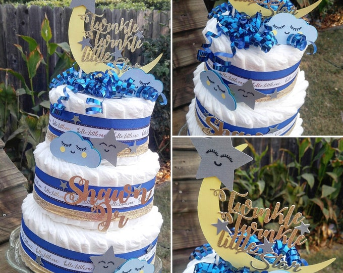 Featured listing image: Diaper Cake - Twinkle Twinkle Little Star - Diaper Cake for Boy - Blue Diaper Cake - Moon and Stars Diaper Cake