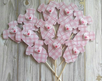 Pink Onesie Cupcake Toppers - Baby Shower Cupcake Toppers - Baby Girl - Cupcake Toppers - Pink Onesie with Heart - Pink Baby Shower