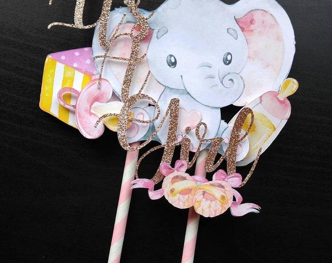 Elephant Cake Topper, It's a Girl Cake Topper, Elephant Cake, It's a Girl, Elephant Baby Shower, Cake Topper, Pink Gold Baby Shower