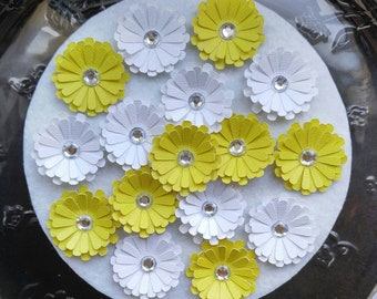 Yellow Paper Flowers - 3D Yellow White Paper Flowers - Daisy Paper Flowers - Paper Crafting Flowers - Daisy Flowers - Yellow White Flowers