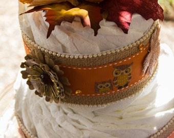 Burlap Fall Diaper Cake | Burlap Diaper Cake | Orange Fall Diaper Cake | Fall Baby Shower | Diaper Cake