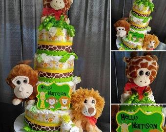 Safari Diaper Cake - 4 Tier - Jungle Diaper Cake - Safari Baby Shower - Jungle Baby Shower - Wild Animal Safari Diaper Cake - Baby Cake