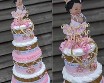 Princess Diaper Cake - 4 Tier - Pink and Gold - Princess Baby Shower - Baby Shower Cake - Baby Girl Diaper Cake - Baby Cake - It's a Girl