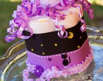 Halloween Mini Diaper Cake | Halloween Baby Shower Decoration |  Baby Shower Gift | Purple and Black Diaper Cake
