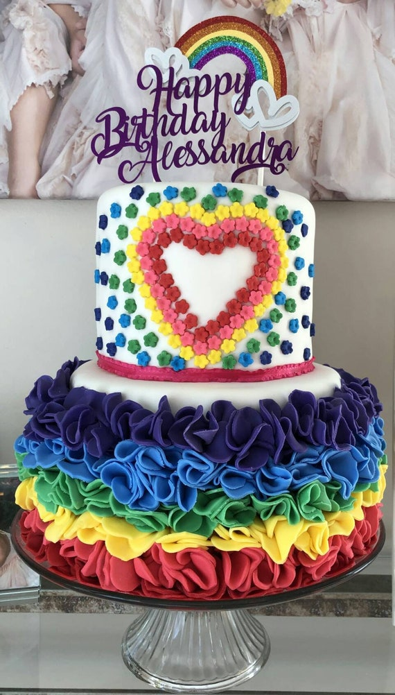 Pleasant Rainbow Cake Topper Cake Topper Rainbow Birthday Cake Etsy Personalised Birthday Cards Arneslily Jamesorg