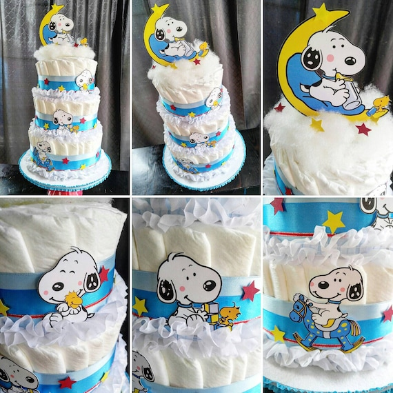 Peachy Snoopy Diaper Cake The Peanuts Diaper Cake Charlie Brown Etsy Personalised Birthday Cards Paralily Jamesorg