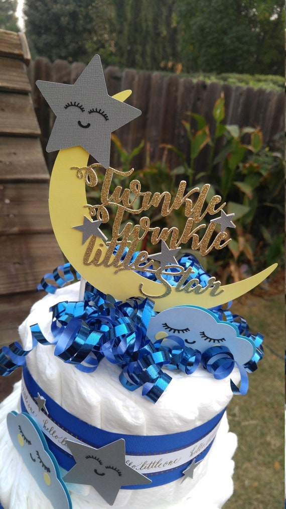 moon and star Personalised handmade  birthday cake topper Owl