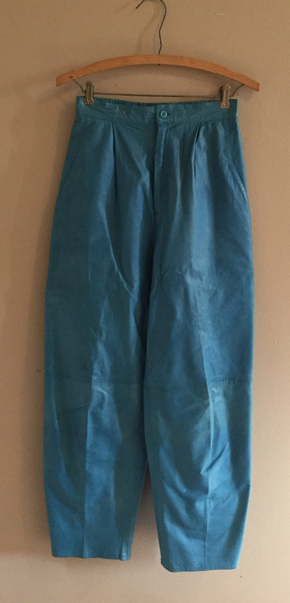 Vintage Blue Leather Pants