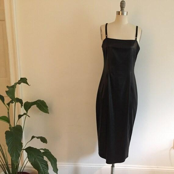 90's Grunge Minimal Faux Leather Slip Dress - image 5