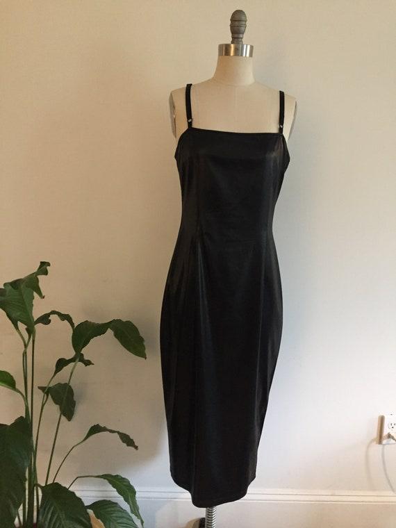90's Grunge Minimal Faux Leather Slip Dress - image 1