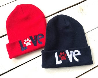 889841447a3 Animal Lover LOVE Paw Beanie Embroidered Slouchy Hat Knit Beanie Custom  Embroidery Puppy Kitty Cat Dog Swag