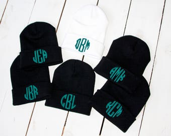 d23373dc0e3 MONOGRAM Beanie Embroidered Slouchy Hats Custom Name Beanie Bridesmaid  Beanies Bridal Party Swag