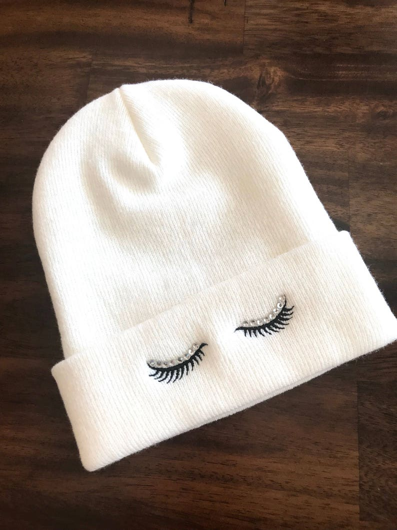 26948a6d964 Rhinestone EYELASHES Beanie Embroidered Slouchy Hat Winter