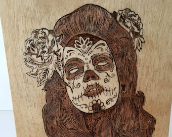 Day of the Dead, Sugar Skull Wall Art, Pryography, Pryography Artwork, Wood Burning Gifts, Small Artwork, Artist Signed, Gifts for Birthdays