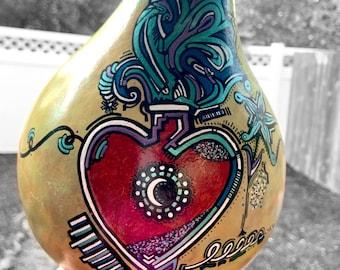 Gourd, Gourd Art, Hand Painted Gourd, Unique Gourd Art, Artist Signed, Original Artwork, Sculpture, Hand Drawn