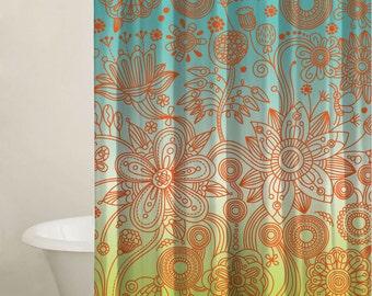 Garden Flower Shower Curtain Set, Custom Shower Curtains, Bathtub Curtain, Modern Bathroom Curtain, Shower Curtain Set, Extra Long Curtains