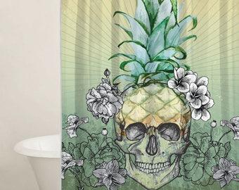Custom Shower Curtains, Shower Curtain Set, Skull Curtain, Skull Decor, Gift Ideas, Extra Long Curtains, Pineapple Curtain Design
