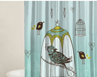 Shower Curtain Set, Bird Curtain, Custom Shower Curtains, Bathtub Curtain, Extra Long Curtains, Shower Curtain, Modern Shower Cover