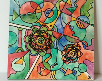 Watercolor Painting, Original Artist Piece, Pen and Watercolors. Geometric Organic Shapes. Vivid Colors. Artist Signed and One of a Kind.