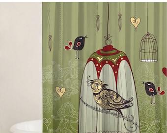 Bathtub Curtain, Bird Curtain Design, Bathroom Decoration, Fabric Shower Curtain Set, Extra Long Curtain, Custom Curtains, Green Curtain