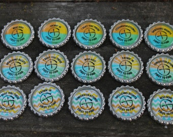 NEW First To Find FTF Geocache Bottle Cap Magnets