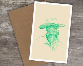 Greeting Card // COWBOY - Colored Pencil Drawing