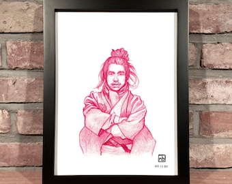 Art Print // SAMURAI - Colored Pencil Drawing
