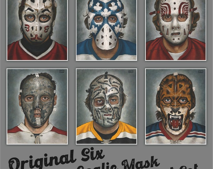 Featured listing image: Art Print 6-Pack // ORIGINAL SIX MASK Set - Oil Paintings [Toronto, Boston, Montreal,  Detroit, Chicago, New York, Nhl] - Set of 6 prints