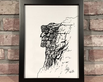 Art Print // OLD MAN in the MOUNTAIN - Pen & Ink