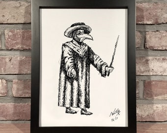 Art Print // PLAGUE DOCTOR - Pen and Ink