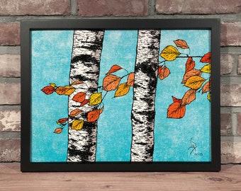 Art Print // BIRCH TREES - Mixed Media